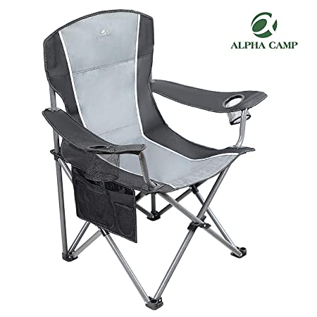 ALPHA CAMP Oversized Camping Folding Chair Heavy Duty Steel Frame Support 350 LBS Collapsible Padded Arm Chair with Cup Holder Quad Lumbar Back Chair Portable for Outdoor Indoor
