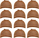 12 Pack Brown Wig Caps Skin Tone Color Stretchy Close End