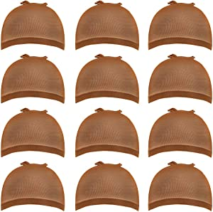 12 Pack Brown Wig Caps Skin Tone Color Stretchy Close End Wig Caps for Women (Brown)