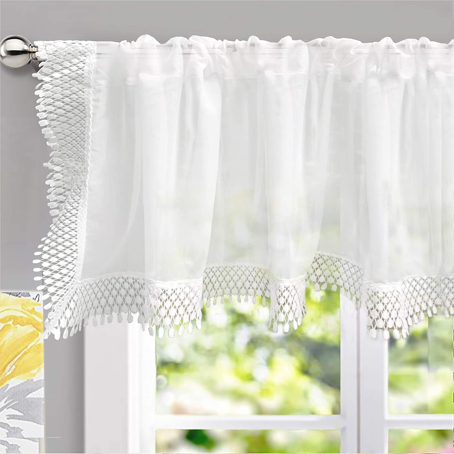 """DriftAway Ava Voile Sheer Curtain Valance with Lace/Crochet Trim, Soft White Voile Chiffon Plain Sheer Window Valance Curtain Panel for Small Window/Kitchen, Single, 60""""x18""""(Off White)"""
