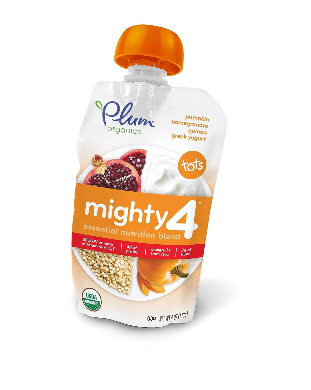 Plum Organics Mighty 4 Essential Nutrition Blend Pouch, Pumpkin Pomegranate Quinoa Greek Yogurt, 4 Ounce (Pack of 6)