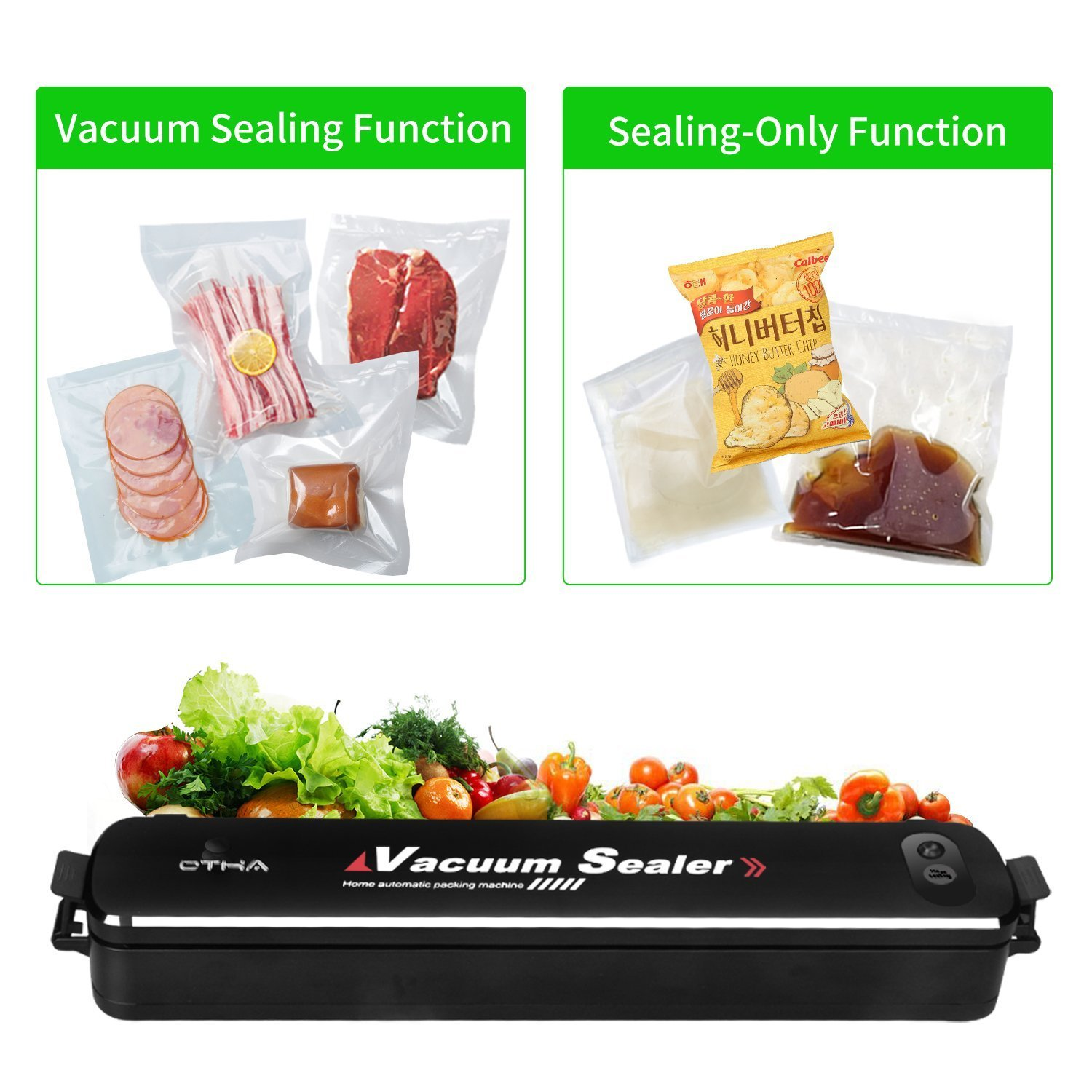 Food Vacuum Sealer Machine, Compact Automatic Vacuum Sealing System for Dry & Moist Foods Preservation and Storage, Great for Youth Keeping Cereal and Dry Goods Longer+15 Sealer Bags