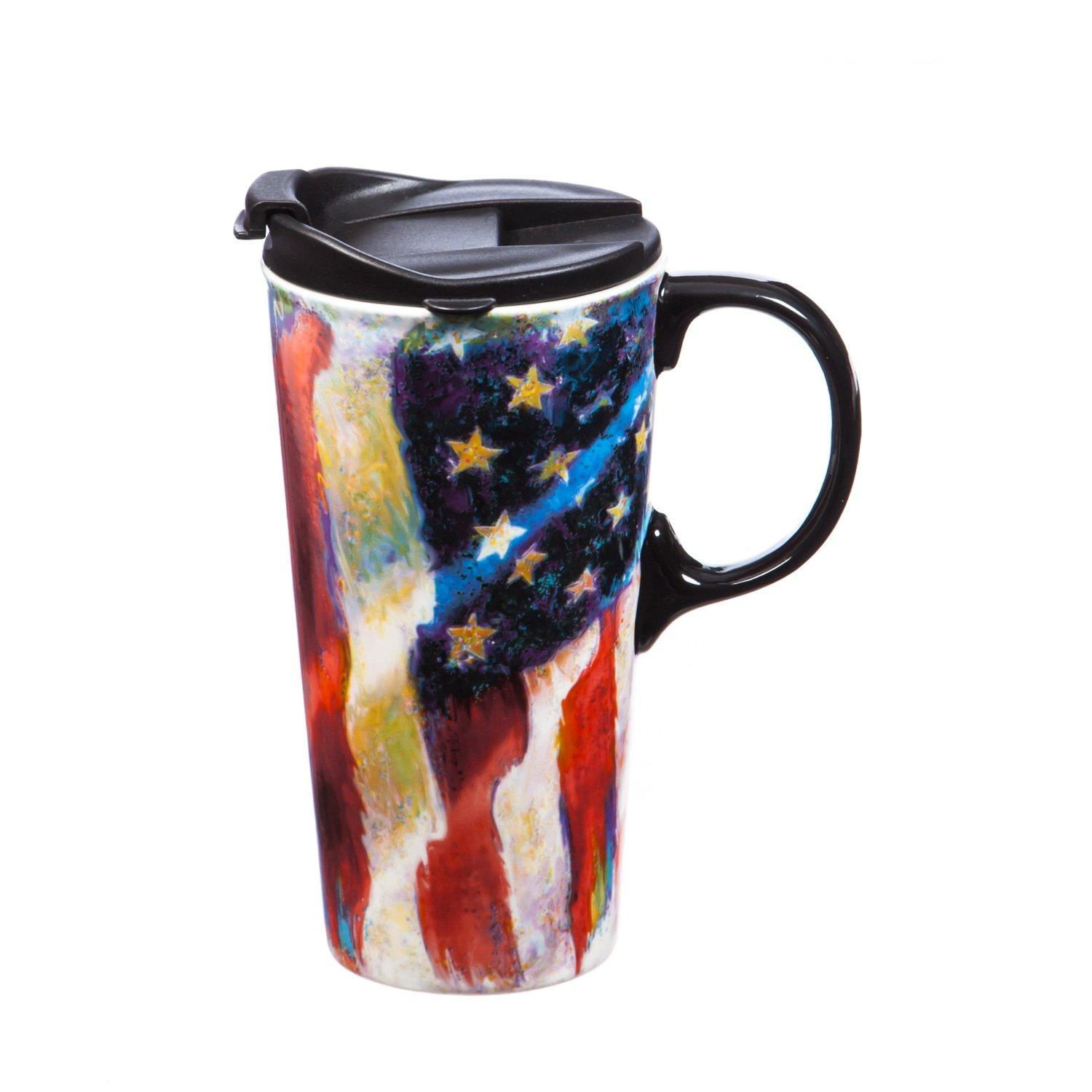 Cypress Home Old Glory American Flag Ceramic Travel Coffee Mug with Gift Box, 17 ounces