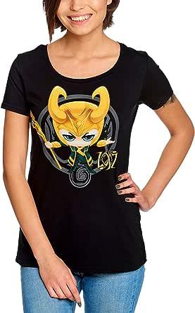 Loki Camiseta Mujer Chibi Marvel Elbenwald Algodón Negro