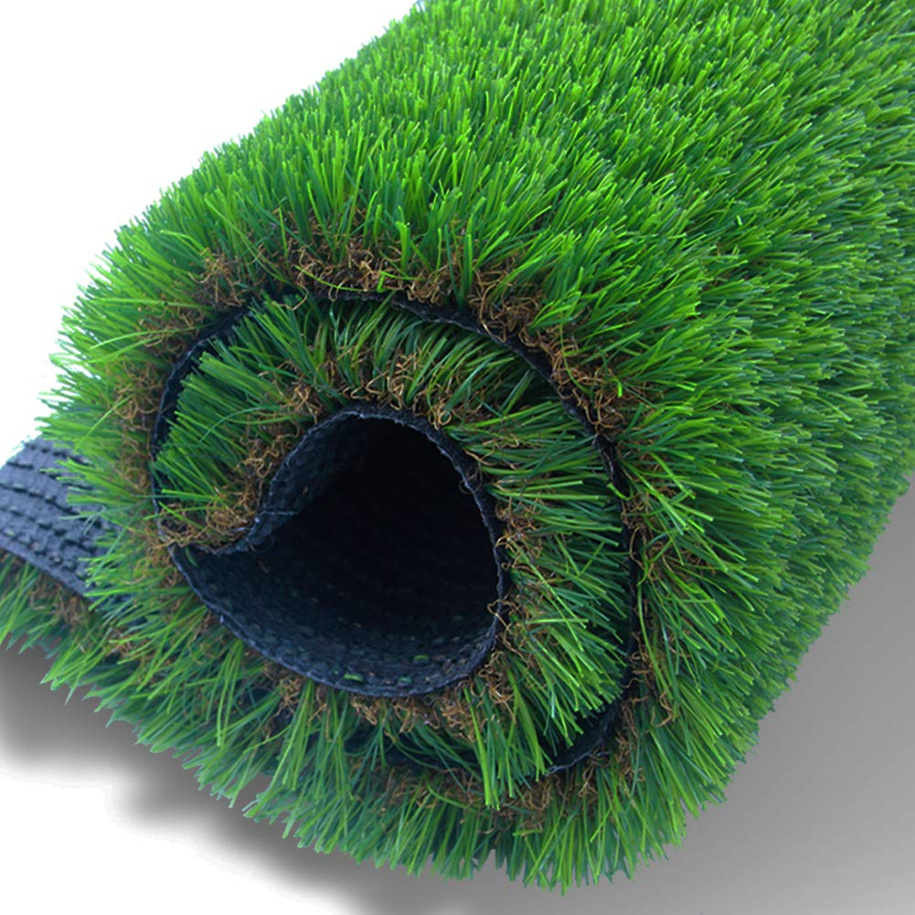 AGOOL x Realistic Deluxe Artificial Grass Rug Synthetic Turf Thick Fake Carpet Mat Easy Care Rubber Backed with Drainage Holes Lawn Area, 16 in x 32 in, Green