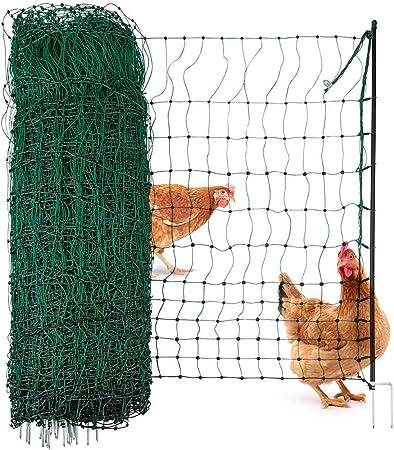 Geflügelzaun Geflügelnetz Hühnerzaun 1,60 m x 25,00 m  oliv  Maschenweite 5 cm