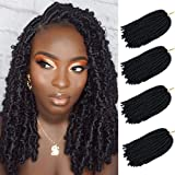 4 Packs Spring Twist Hair Braiding 8 inch Bomb Twist Crochet Braids Ombre Colors Mini Twist Hair Extensions(1B)