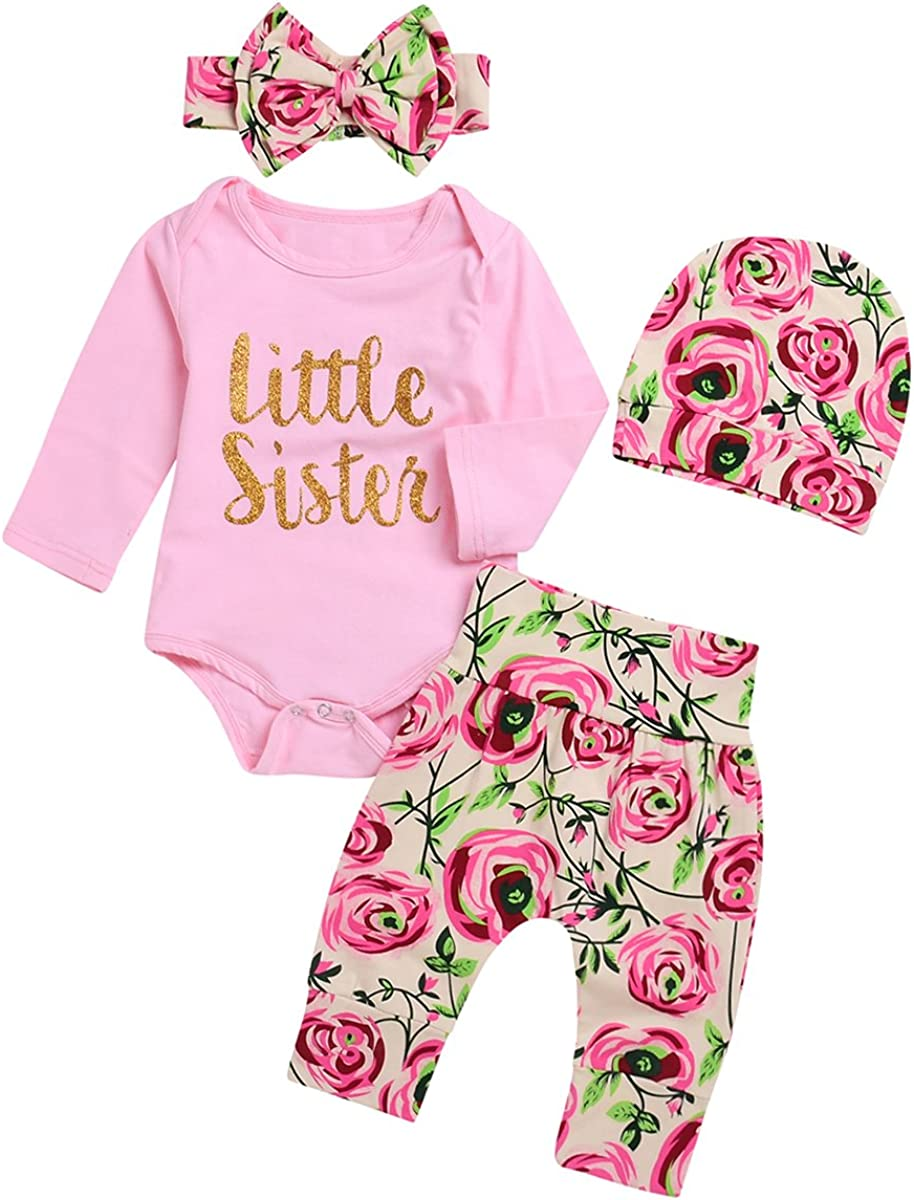 Borlai 4 Pezzi Baby Girl Little Sister Rose Flower Outfit Pagliaccetto +...