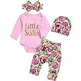 Borlai 4Pcs Baby Girl Little Sister Rose Flower Outfits Romper+Pants+Headband+Beanie