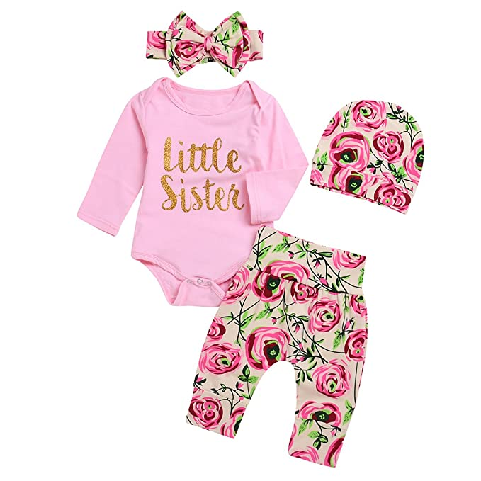 bc553be9021 Borlai 4Pcs Baby Girl Little Sister Rose Flower Outfits Romper+Pants+Headband+Beanie   Amazon.co.uk  Clothing