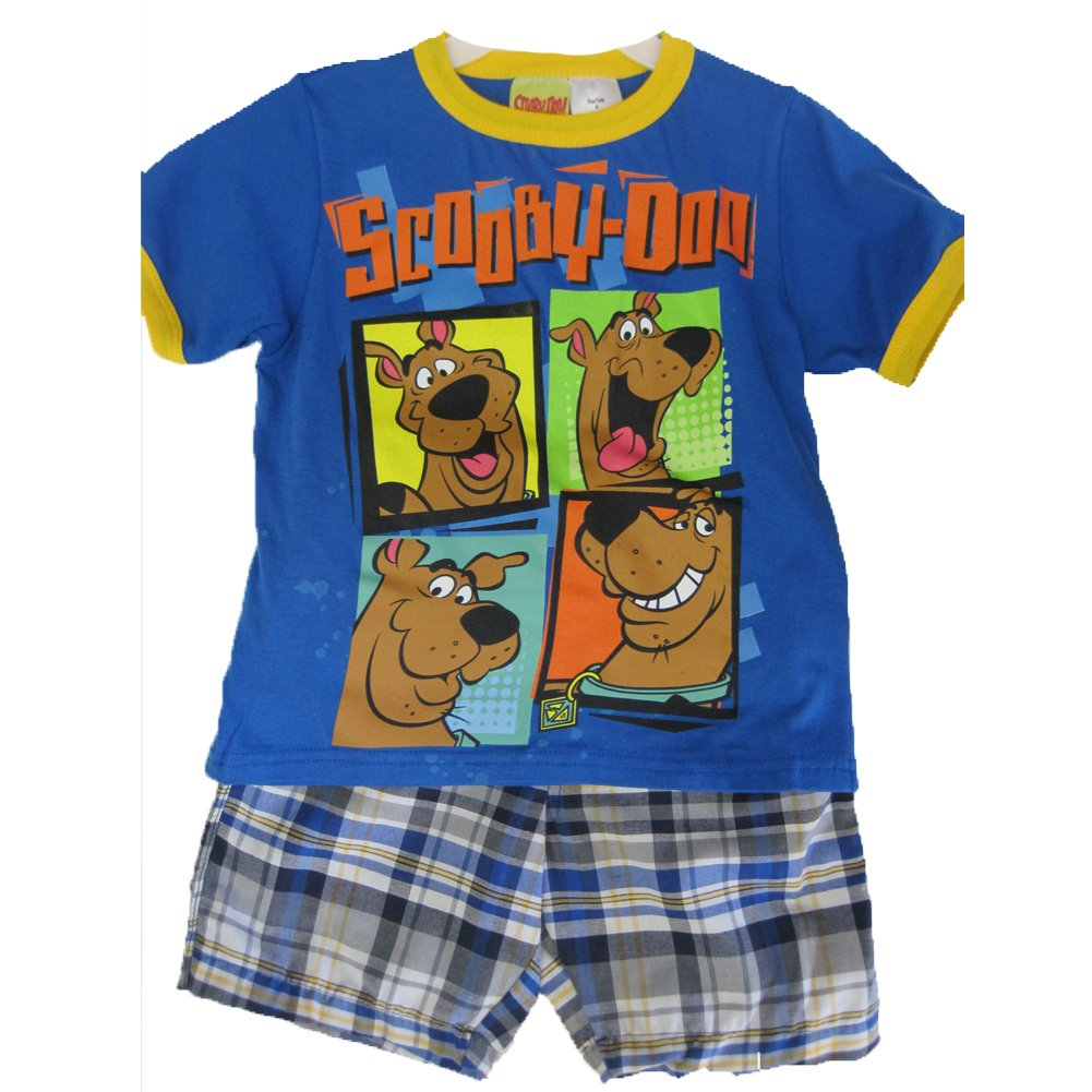 Scooby Doo Little Boys Royal Blue Character Printed Plaid 2 Pc Shorts Set 4-7 ABC Brand Name Inc.