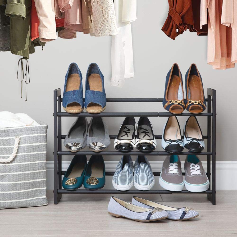 Space-Saving 2 Pack Garage Closet White//Gray MetroDecor 05216MDCO Mudroom Bedroom mDesign Metal 3 Tier Adjustable//Expandable Shoe and Boot Storage Organizer Rack Entryway Angled Vertical Storage