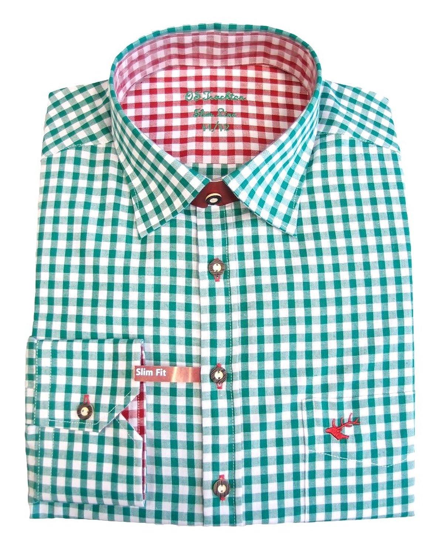 Slim Fit Trachtenhemd für Lederhosen mit Stickerei trachtengrün