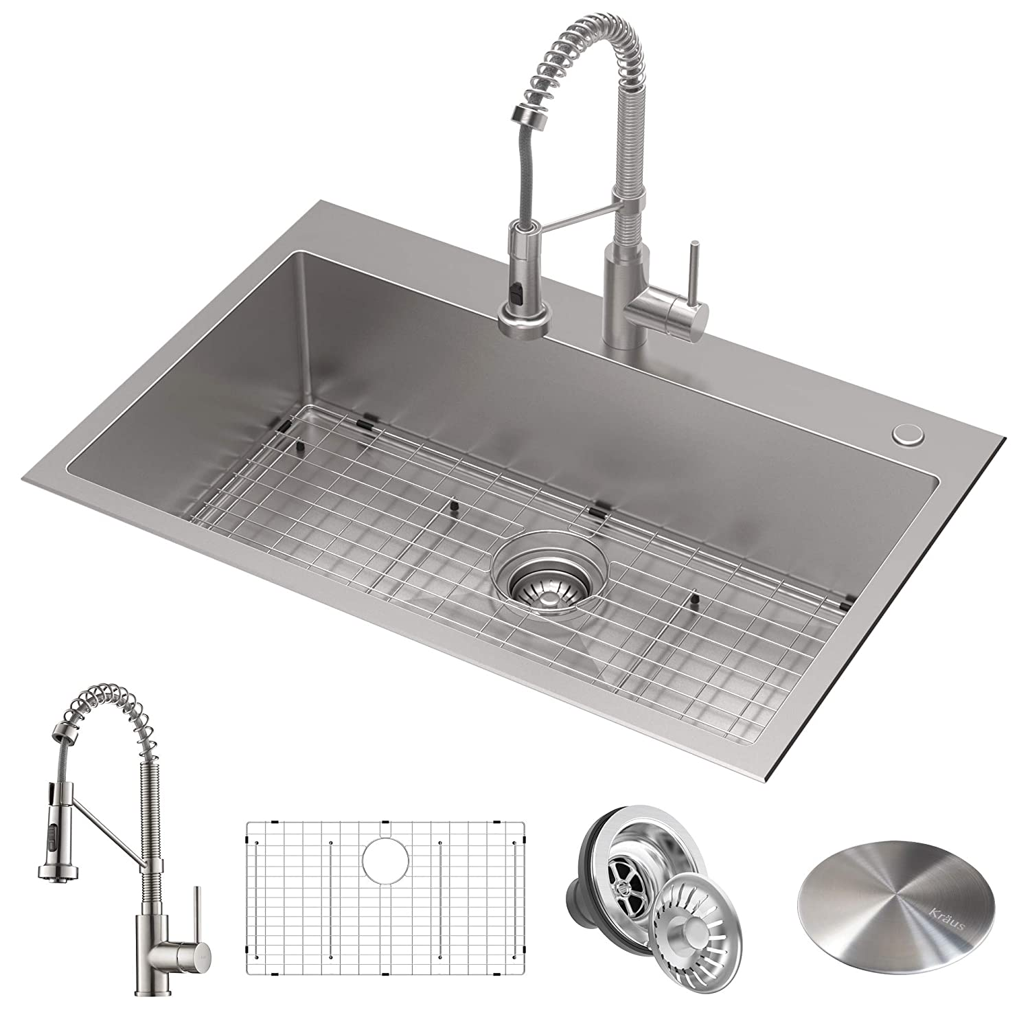 "Kraus KCA-1102 Stark Kitchen Sink and Faucet, 33""- Single Bowl"