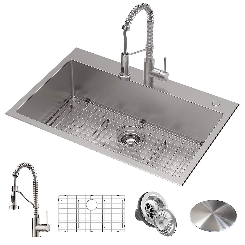 "Kraus KCA-1102 Stark Kitchen Sink and Faucet, 33""- Single Bowl"