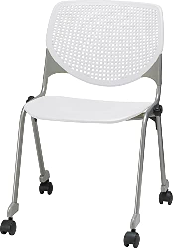 KFI Seating Kool Series Polypropylene Stack Chair with Perforated Back and Casters, White Finish