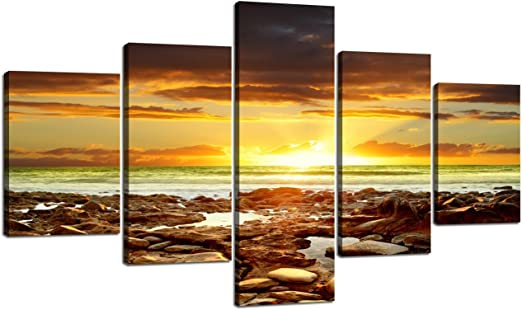 Large Canvas Print Painting Picture Photo Wall Art Home Decor Sea Rock Framed