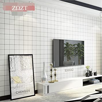 Hu0026M Tapete Modern Minimalistisch PVC Schwarz Und Weiß Raster Kreative  Tapete Dekoration Schlafzimmer TV Wand Wohnzimmer