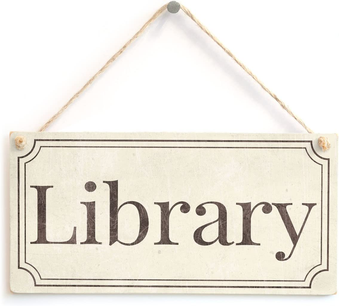 XLD Store Library - Stylish Vintage Style Plastic Library Door Sign Gift