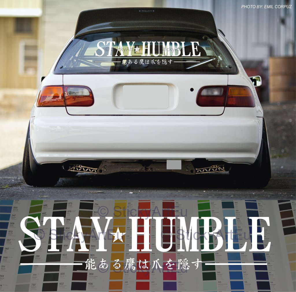 Amazon com stay humble in japanese windshield stance car decal decal sticker white 24 automotive
