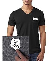 Pocket Cat Shirt Finger Peace Sign Unisex Pocket V-Neck T Shirt
