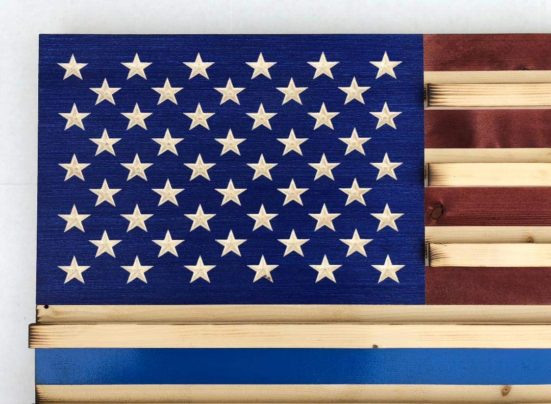 THIN BLUE LINE Extra Large Rustic American Flag Challenge Coin Display