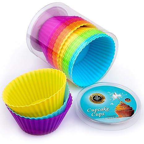Moldes para Cupcakes 24 Pc Premium de silicona moldes para magdalenas envoltorios para magdalenas moldes –