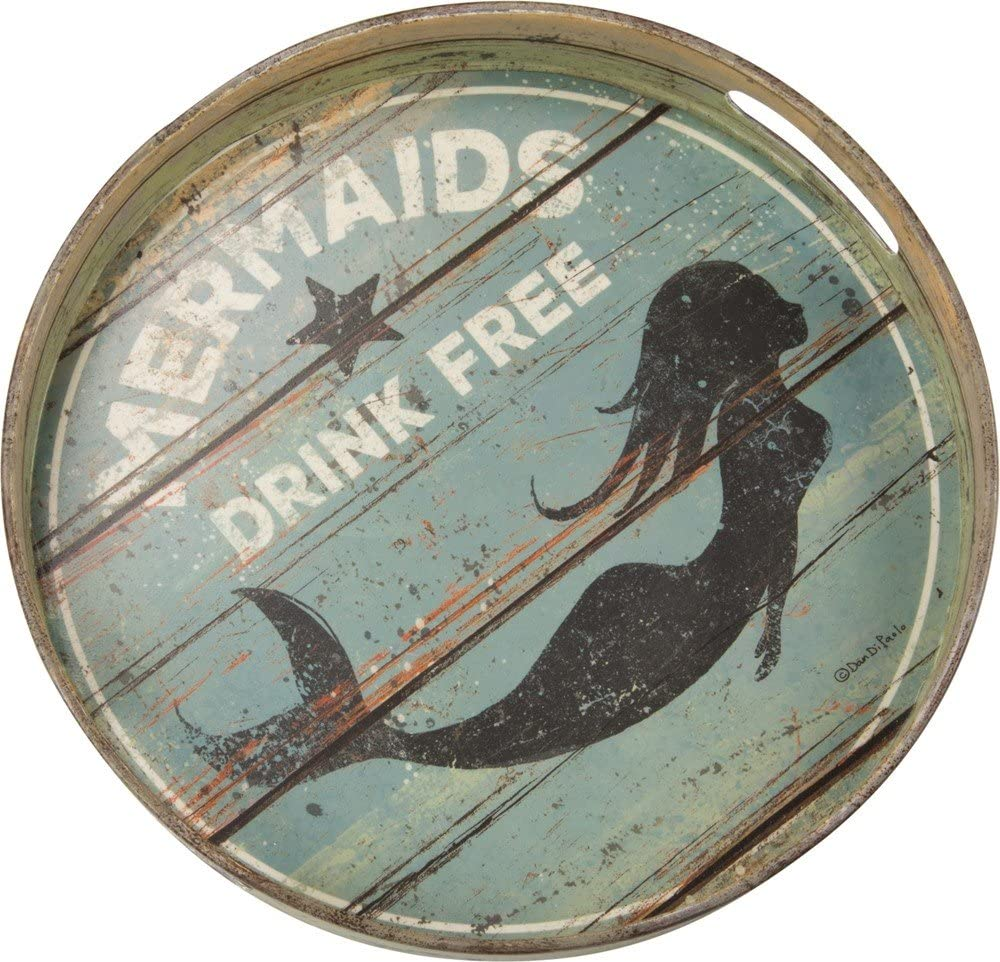 """Primitives by Kathy Round Distressed Decorative Tray, 12.5"""", Mermaids Drink Free"""