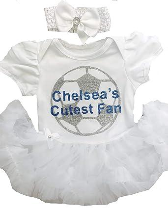 4152a399e62 Little Secrets Childrens Clothing Baby Girl s Chelsea Football White Tutu  Romper with Headband