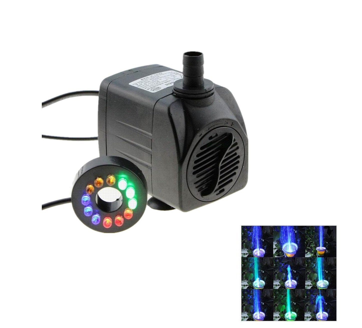 Colorful LED Submersible Pump, with 12 Led Lights 4 Changing Colors Great Night Decaration for Pond, Fountain, Garden, Fish Tank, Aquarium