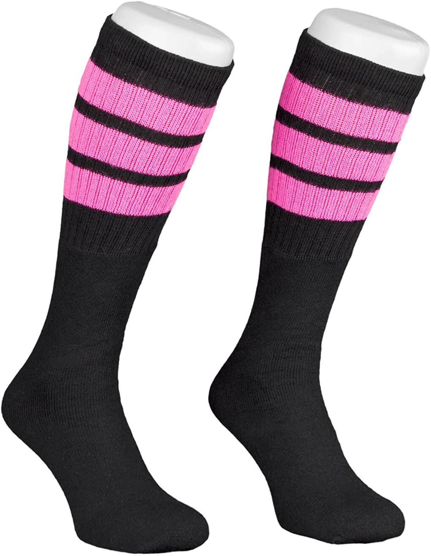 Skatersocks Socken 22 Inch Kniestrümpfe weiß blau gestreift Tube Socks