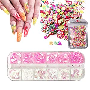 1000pcs Fruit Pattern Nail Art Decor Slices Fimo with Iridescent Shiny Nail Sequins Glitter Flakes for Nail Art DIY, Slime Making, Craft, Decoration