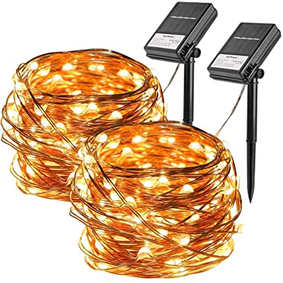 2 Pack Solar String Lights, 33ft 100 Led Solar and Battery Powered Outdoor String Lights Waterproof Fairy Lights with 8 Modes Copper Wire Lights for Xmas Tree Garden Homes Ambiance Wedding Lawn Party : Garden & Outdoor