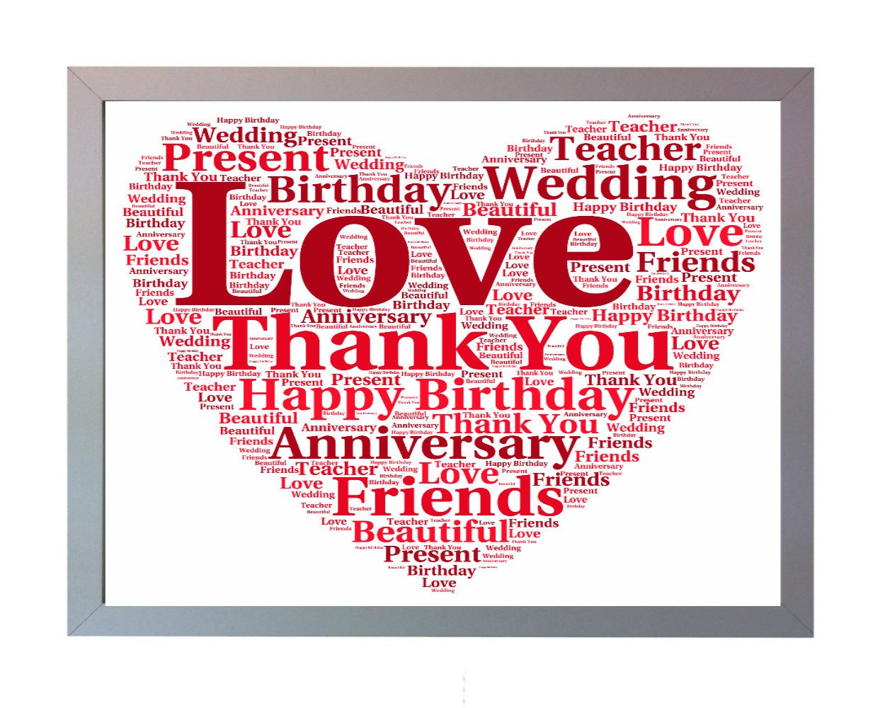 Personalised Bespoke Word Art Heart Print. Perfect Wedding, Birthday ...