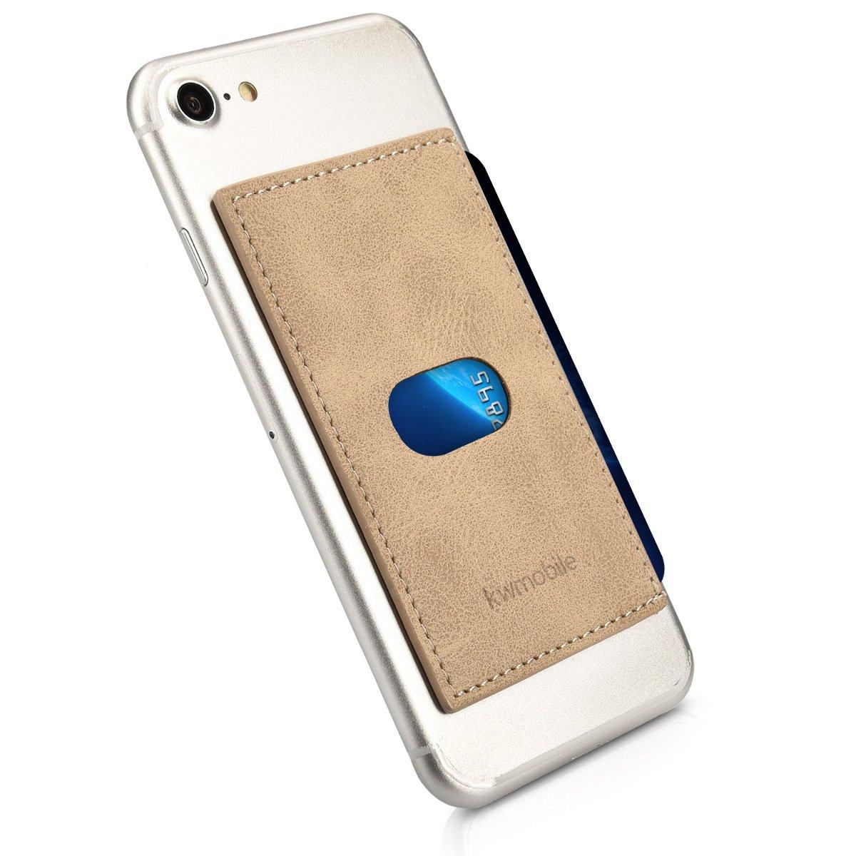 kwmobile Custodia carte portacarte per smartphone - porta tessere adesivo per carte di credito biglietti da visita bancomat - scomparto per carte in similpelle beige antracite KW-Commerce 40818.11_m000005