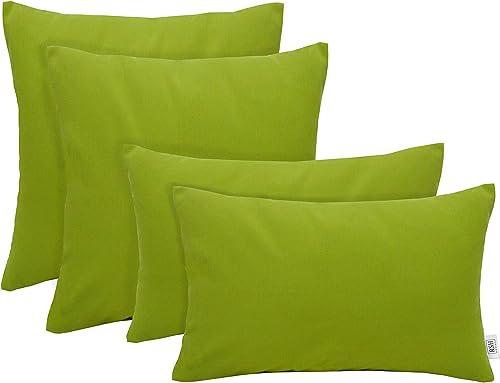RSH D cor Set of 4 Indoor Outdoor Square Rectangle Lumbar Throw Pillows Sunbrella Canvas Macaw Green 20 x 12 20 x 20