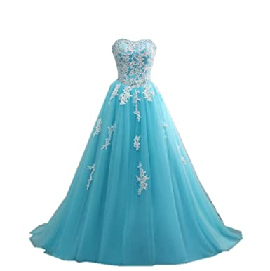 Angelsbridep Tulle Appliques Sweetheart Quinceanera Dress Blue Prom Gown at Amazon Womens Clothing store: