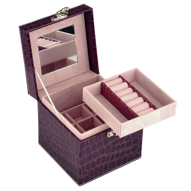 JOVIVI Tragbar Schmuckkasten Schmuckkoffer Kosmetikkoffer Schmuckkästchen Schmuckbox Schmuckkiste Geschenk (Modelle auswählbar) (Violett #6)