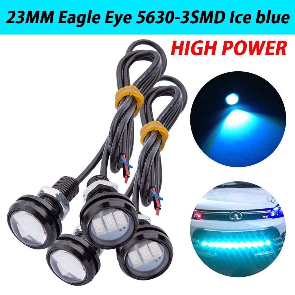 TABEN - 2 LED de 9 W - Lampe œ il d'aigle - 23 mm - 5630 3SMD - Pour voiture - De brouillard - Feux de circulation diurnes, de recul de stationnement, de signalisation - Ampoule blanche - 12 V