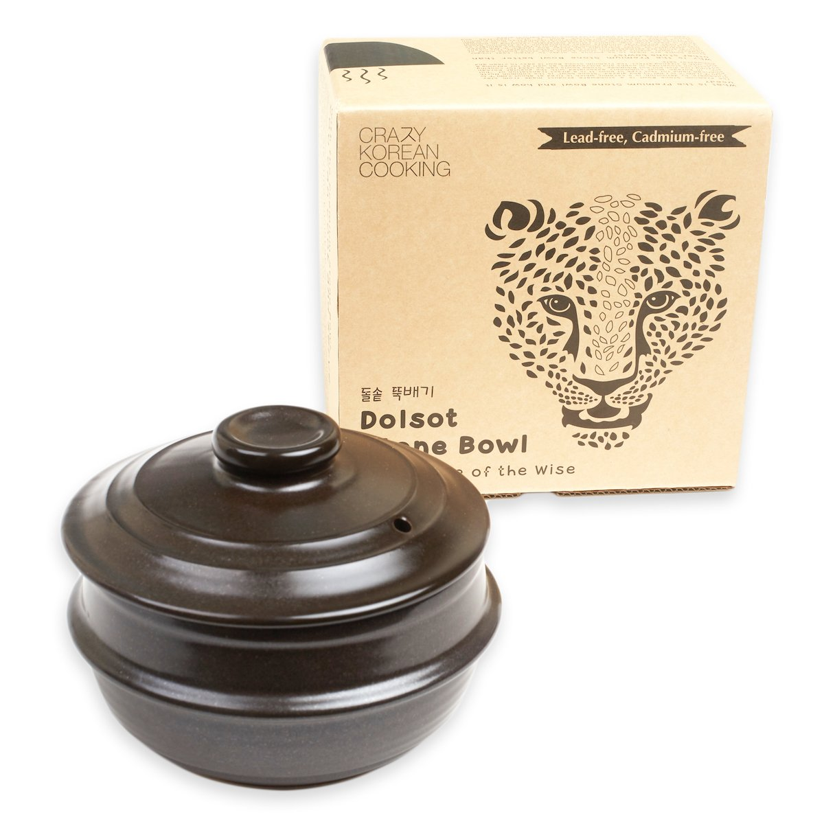 Tiger Dolsot Korean Stone Bowl with Lid (No Trivet) (Size 4) by Crazy Korean Cooking (Image #1)
