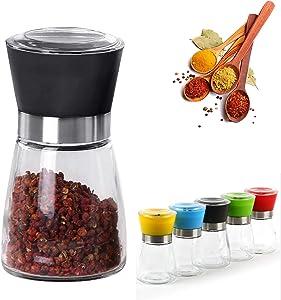 Salt & Pepper Grinder Shaker - FREE 1 Spice Shovel - Best Spices Mill and Sea Salt - Sharpen Ceramic Blade and Stainless Glass Jar - Adjustable Coarseness - Boxed - Best Gift Idea