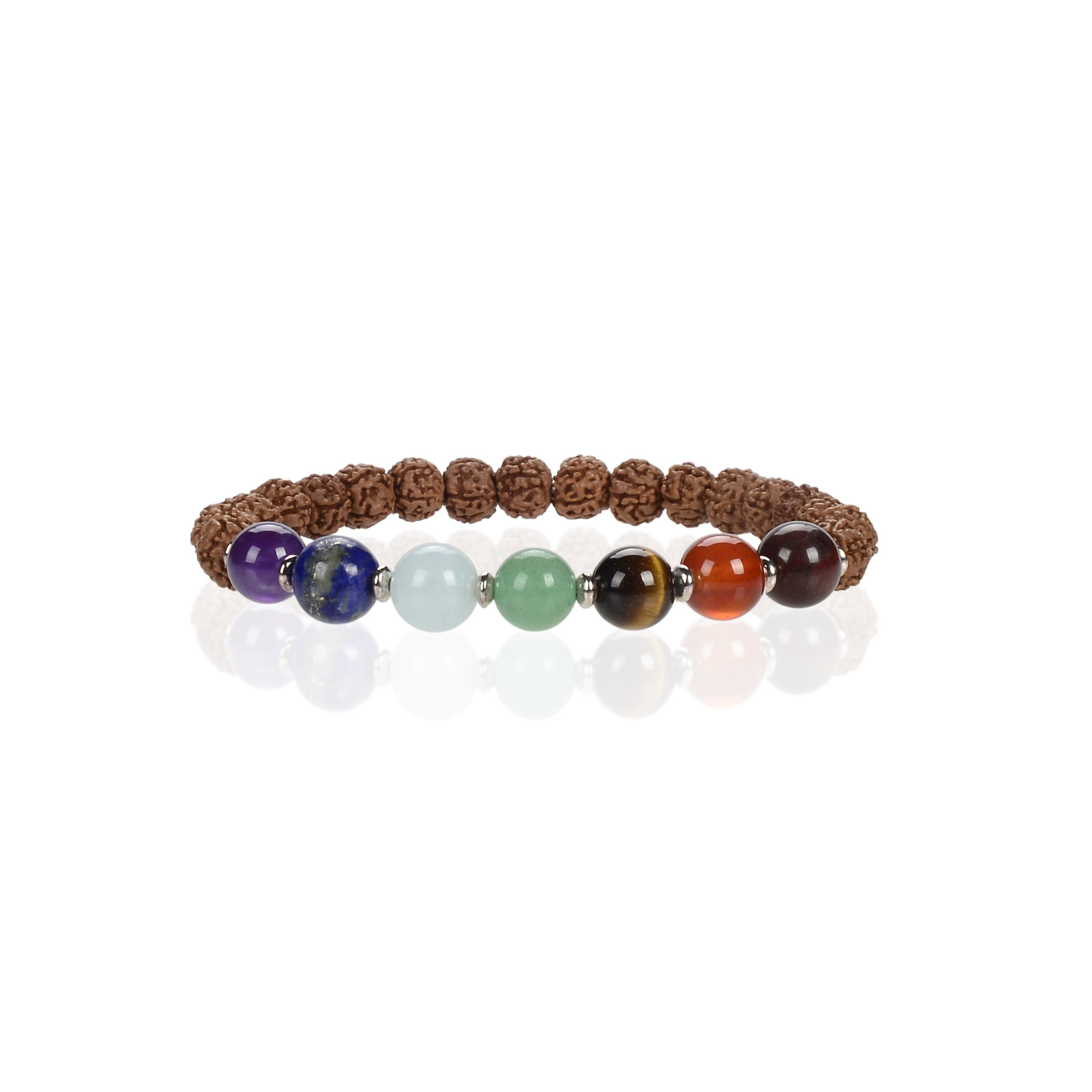Cherry Tree Collection Natural Genuine Gemstone Chakra Stretch Bracelet | 8mm Beads, Silver Spacers | 7'' Men/Women (Rudraksha)