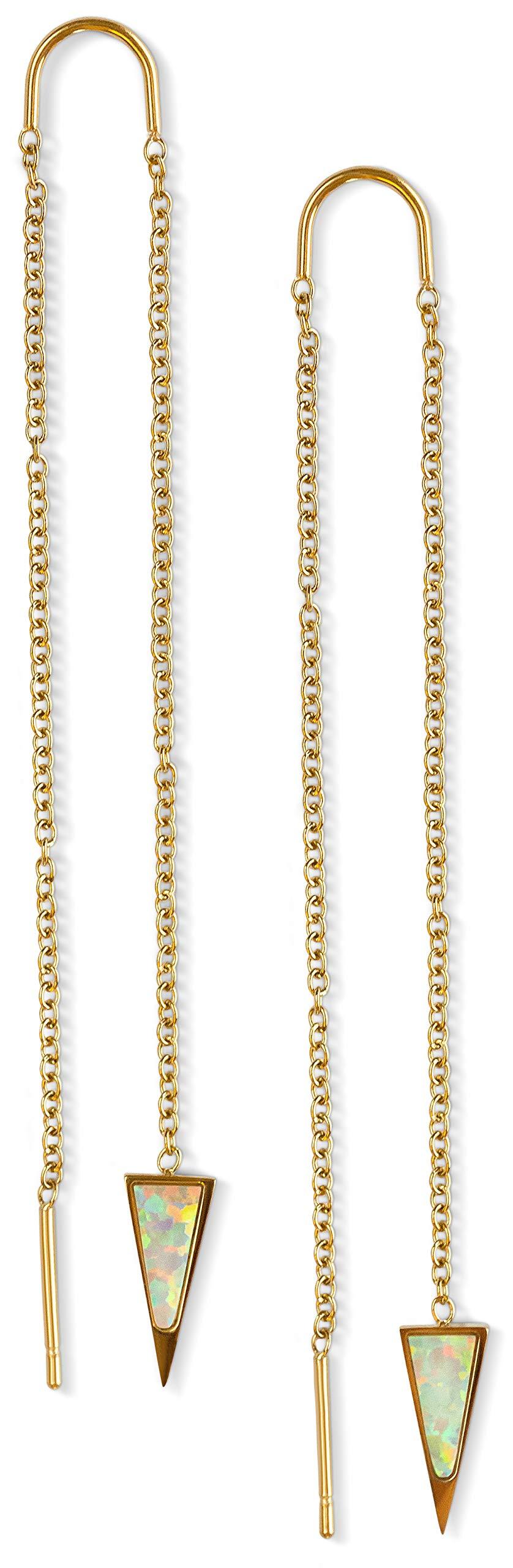 Threader Earrings Turquoise Opal Onyx - 14k Gold Dagger Threader Earring Dangle Drop Long Chain Earring for Women Nickel Free Hypoallergenic Thread Earring Celebrity Approved (Opal Dagger) by Benevolence LA