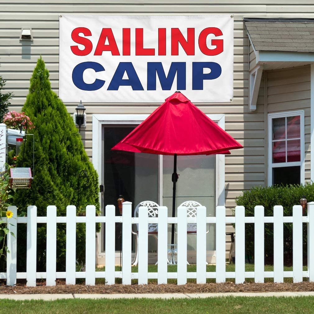 Vinyl Banner Multiple Sizes Sailing Camp Red Blue Business Outdoor Weatherproof Industrial Yard Signs 8 Grommets 48x96Inches