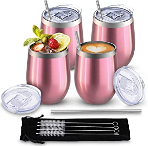 Comfook 4 Pack Stainless Steel Stemless Insulated Wine Tumblers Cup with Lids,Family Funny Double Wall Vacuum Mug,Wine Glass Tumbler Including 4 Straws,4 Brushes and One Velvet Bag