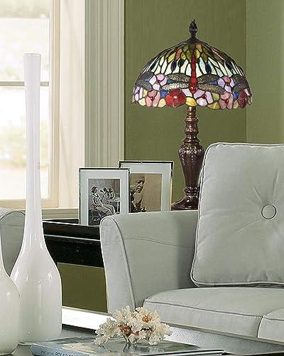 Springdale TT19046 Dragonfly Bounty Tiffany Table Lamp, Fieldstone