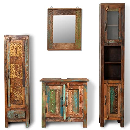 Ordinaire Festnight Bathroom Vanity Set Reclaimed Wood Cabinet With Mirror And 2  Retro Style Side Cabinets Set