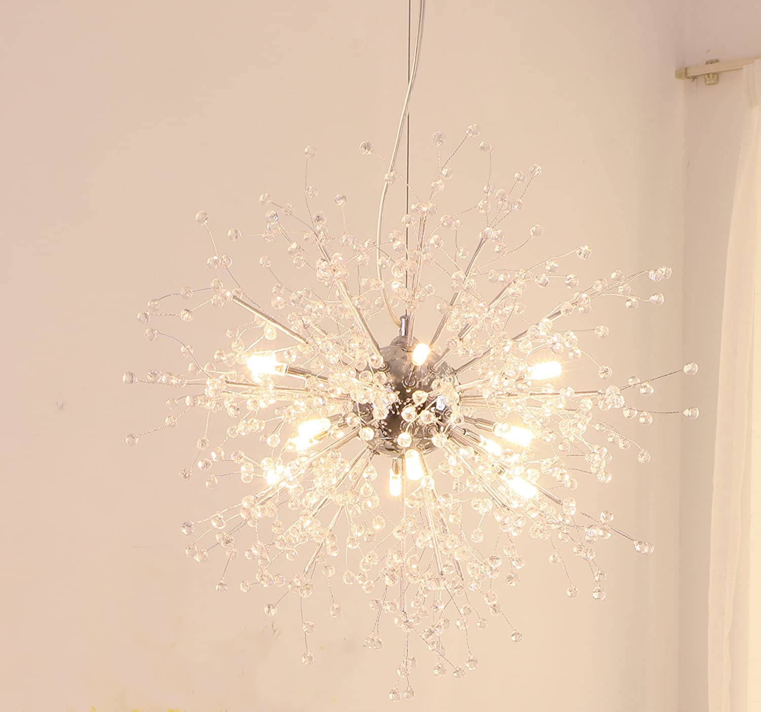 GDNS Chandeliers Firework LED Light Stainless Steel Crystal Pendant Lighting Ceiling Light Fixtures Chandeliers Lighting, Dia 23.5 inch - -