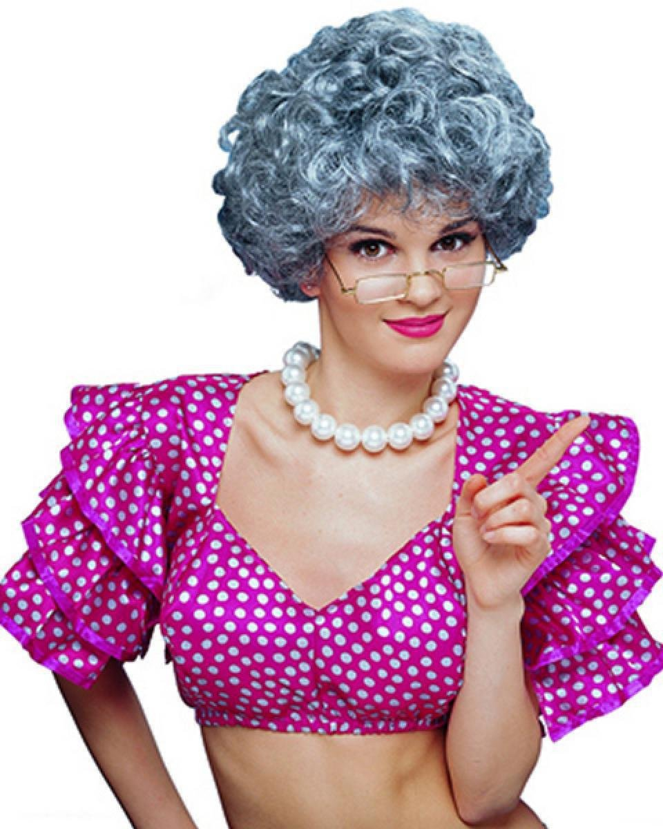 Perruque Femmes Court Gris Bouclé Carnaval Carnaval Halloween Qubeat GmbH