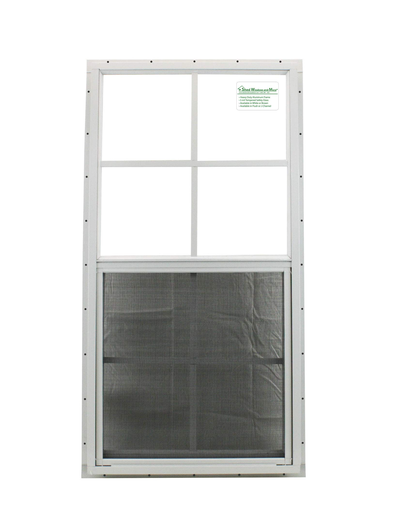 Shed Windows 18'' X 36'' White J-Channel Mount, SAFTY Glass Playhouse Windows, Chicken Coop Windows